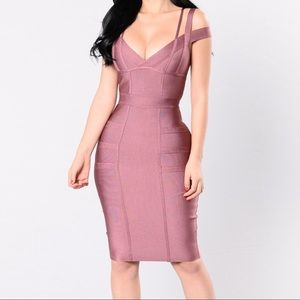 Purple fashion nova bandage dress